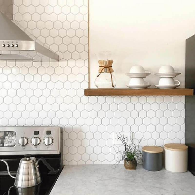 revestimento hexagonal branco para decoração de cozinha Foto Decostore
