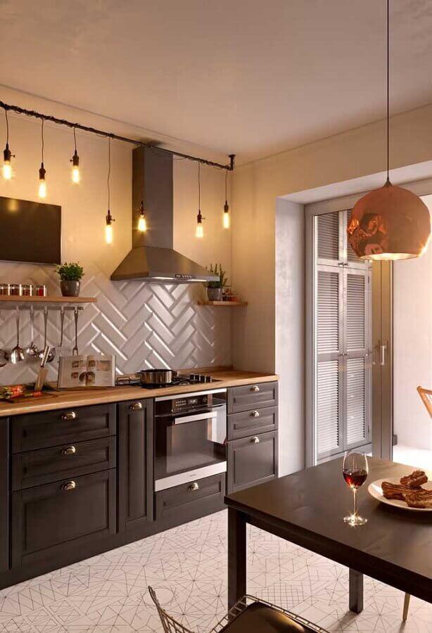 revestimento metro white para decoração de cozinha preta planejada Foto Home Fashion Trend