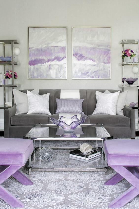 Sala cinza na cor lavanda