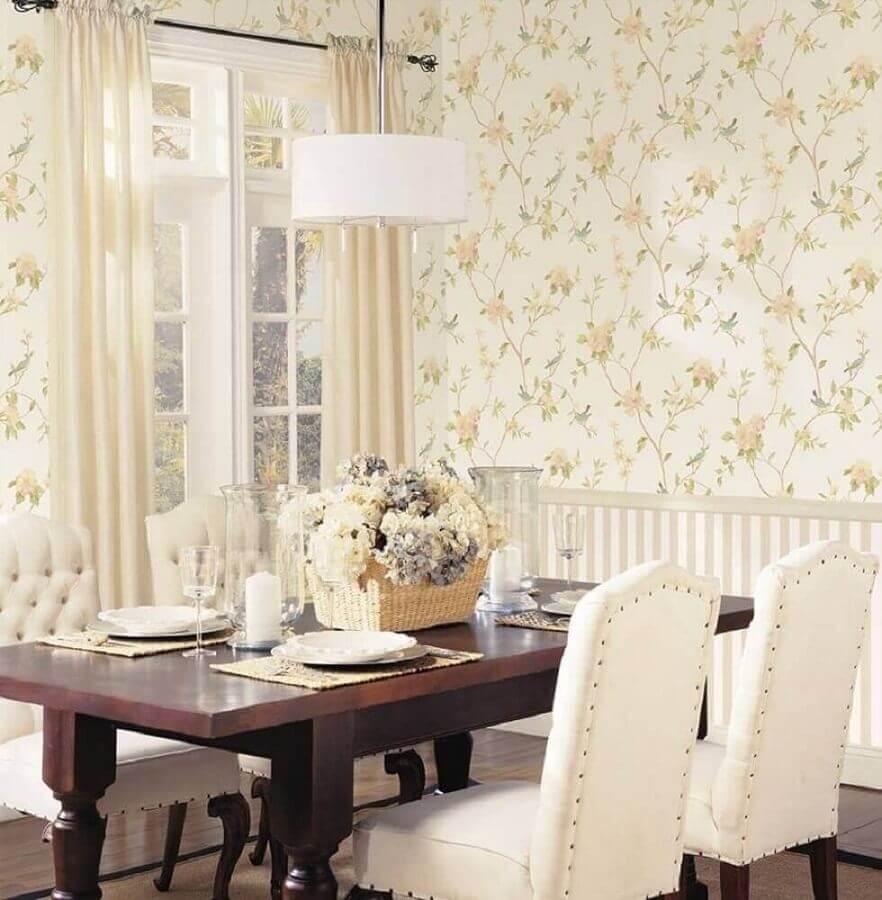 sala de jantar decorada com papel de parede floral romântico Foto Jeito de Casa