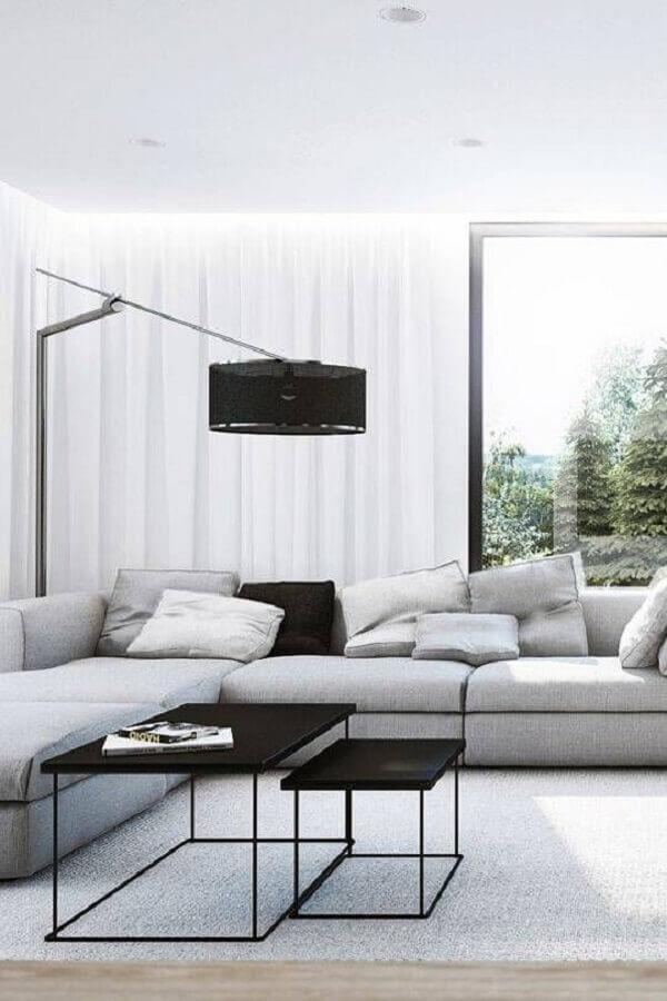 sofá de canto confortável para decoração de sala de estar minimalista com abajur moderno Foto Home Fashion Trend