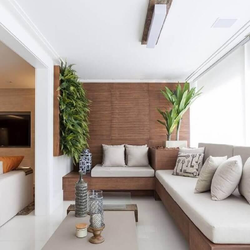 sofá de canto planejado para decoração de varanda de apartamento Foto Jeito de Casa