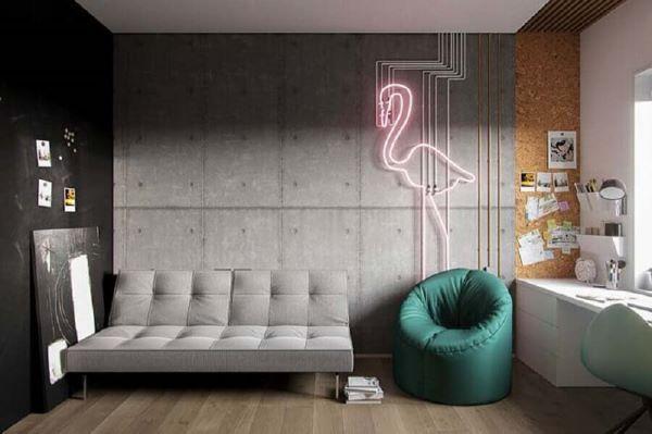 Sofá simples no quarto moderno