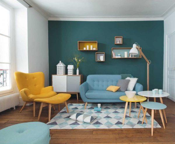Sofá simples azul com poltrona amarelo