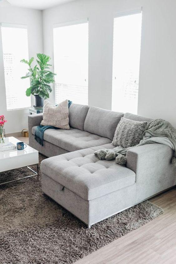 Sofá simples de canto para sala moderna
