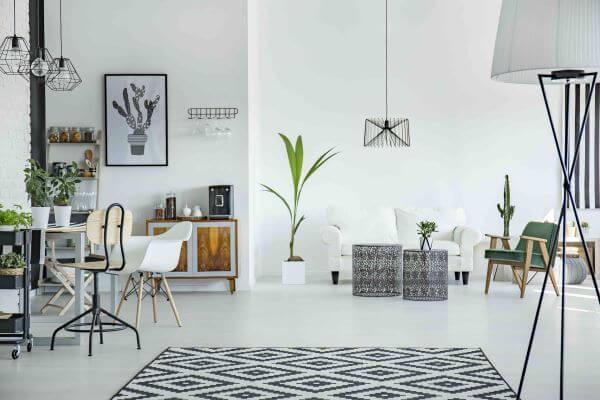 Tapete preto e branco escandinavo
