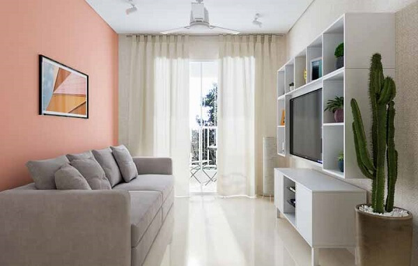Tipos de porcelanato líquido em sala moderna