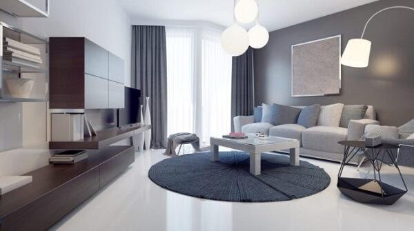 Sala de estar com lindos tipos de porcelanato líquido na sala