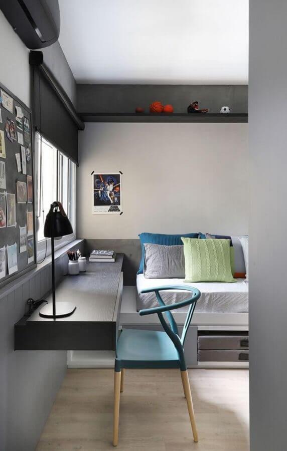tons de cinza para decoração de quarto de adolescente feminino  Foto Arkpad
