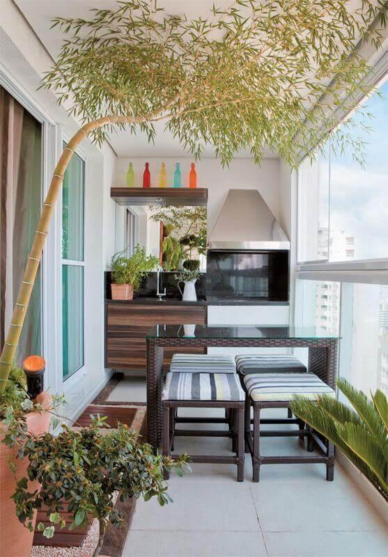 varanda gourmet pequena apartamento com churrasqueira  Foto Superela