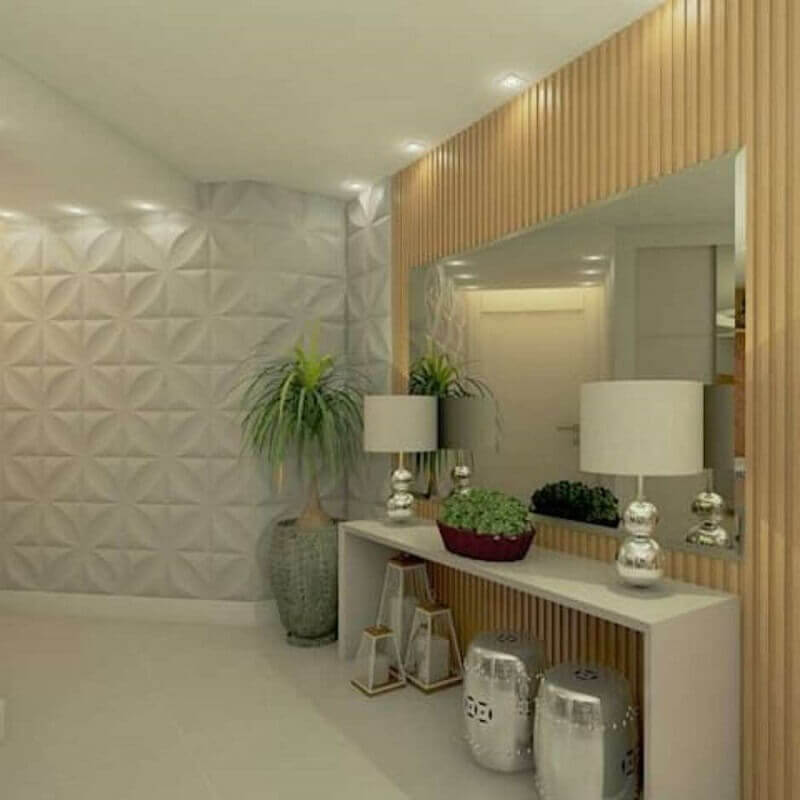 Aparador com espelho para corredor decorado com revestimento 3D