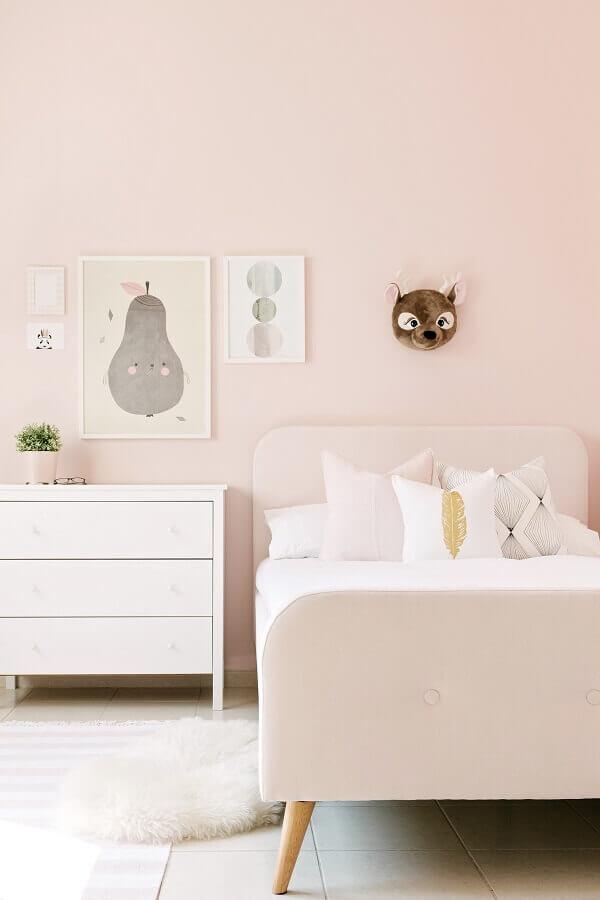 Cor rosa pastel para decoração de quarto infantil feminino pequeno