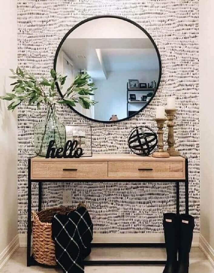 Espelho com aparador pequeno com gavetas para decoração de hall de entradaEspelho com aparador pequeno com gavetas para decoração de hall de entrada