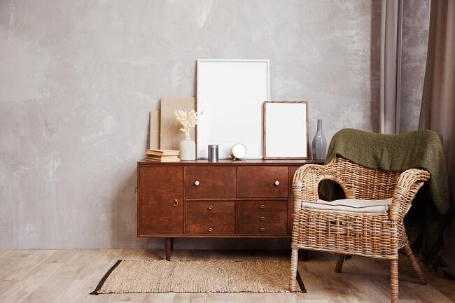 A poltrona rattan com estofado bem macio pode complementar a decoração do quarto