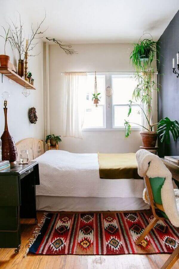 6 tapete para decoração de quarto de casal simples e barato com vasos de plantas Foto We Heart It