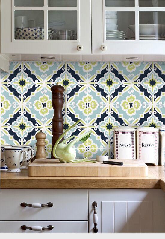 Adesivo com azulejo retro colorido
