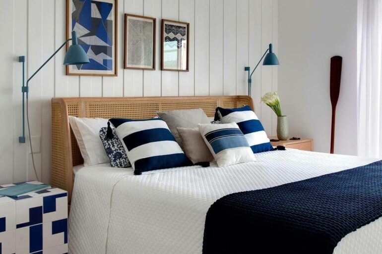 Almofadas para decorar quarto branco e azul
