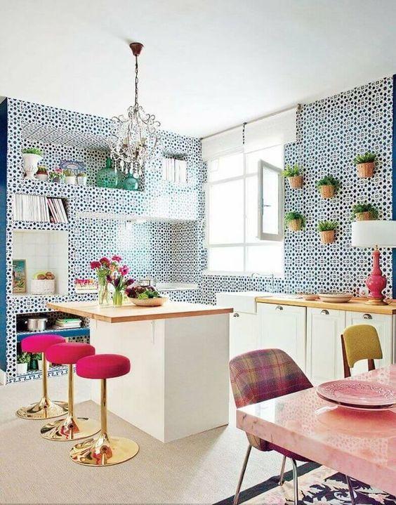 Azulejo retro na cozinha moderna
