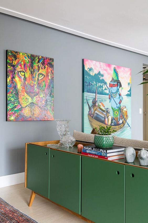 Buffet aparador com cores de móveis verdes