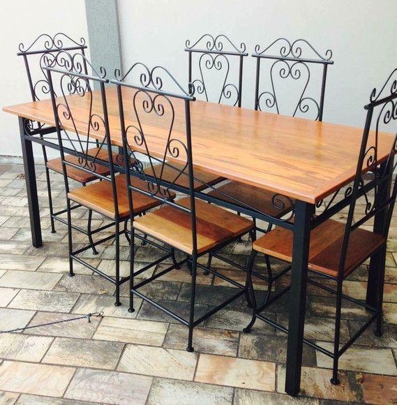Cadeira de ferro e madeira para sala de jantar