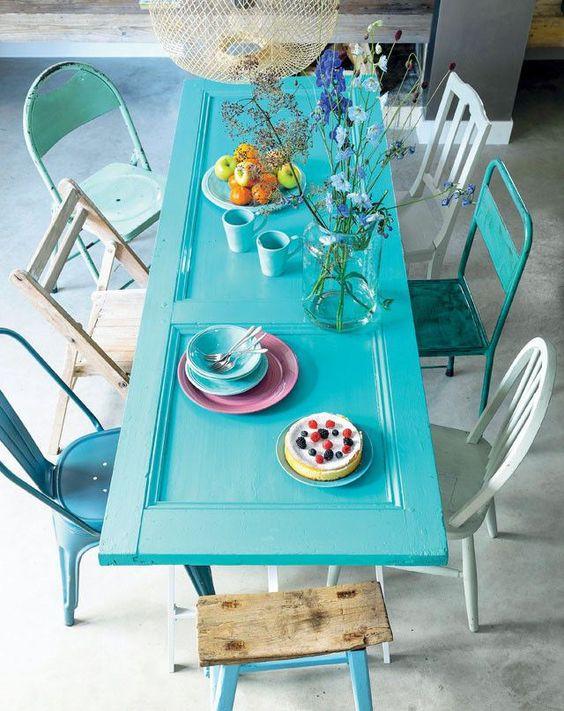 Cadeira de ferro para sala de jantar azul