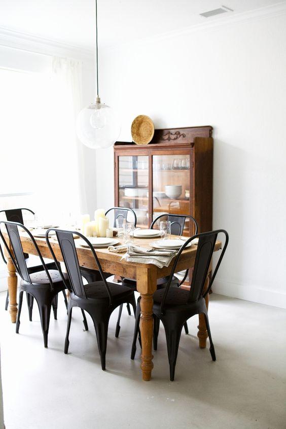 Cadeira de ferro preta para sala de jantar
