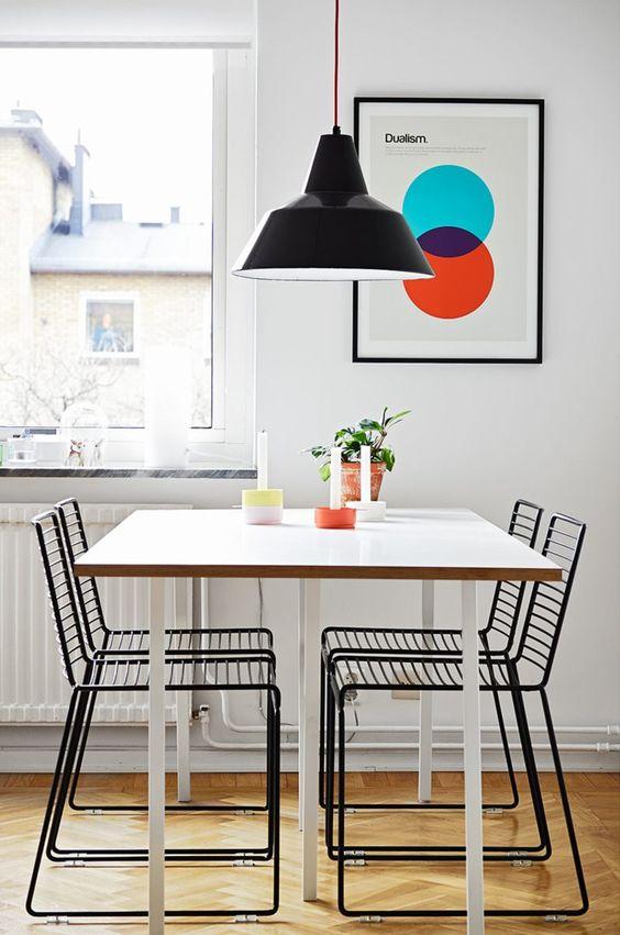 Cadeira de ferro preto para sala de jantar moderna