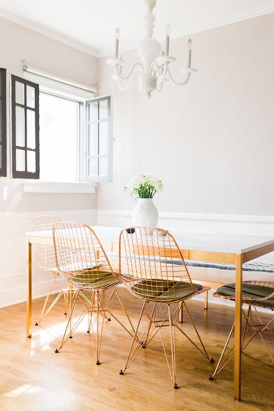 Cadeira de ferro rose para mesa de jantar moderna