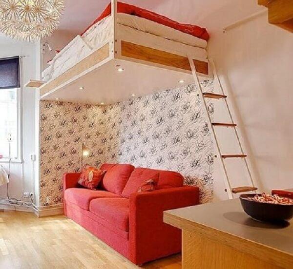 Cama suspensa mezanino com sofá embaixo