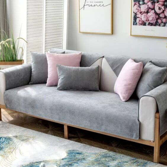 Capa de sofá cinza impermeável