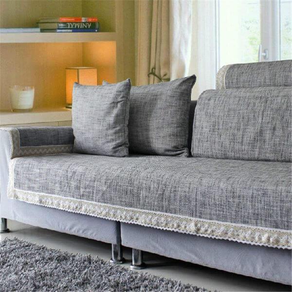 Capa de sofá cinza para sala moderna