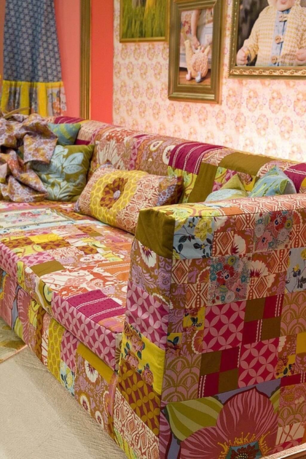 Capa de sofá colorido patchwork