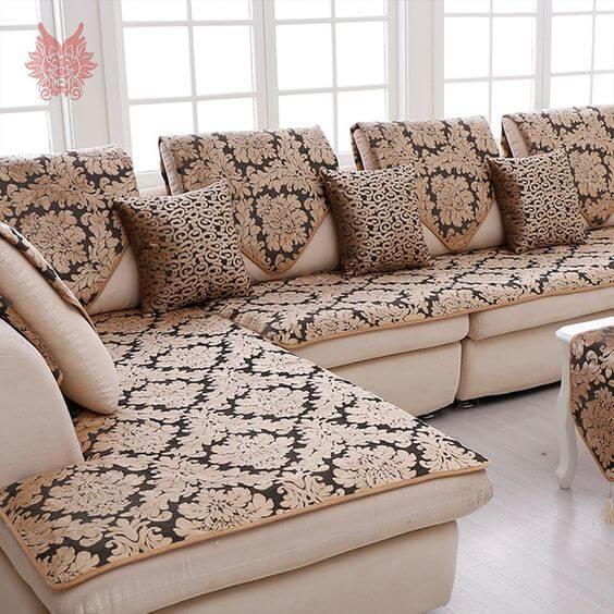 Capa de sofá de canto com estampa chique