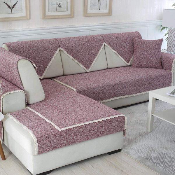 Capa de sofá de canto lilás
