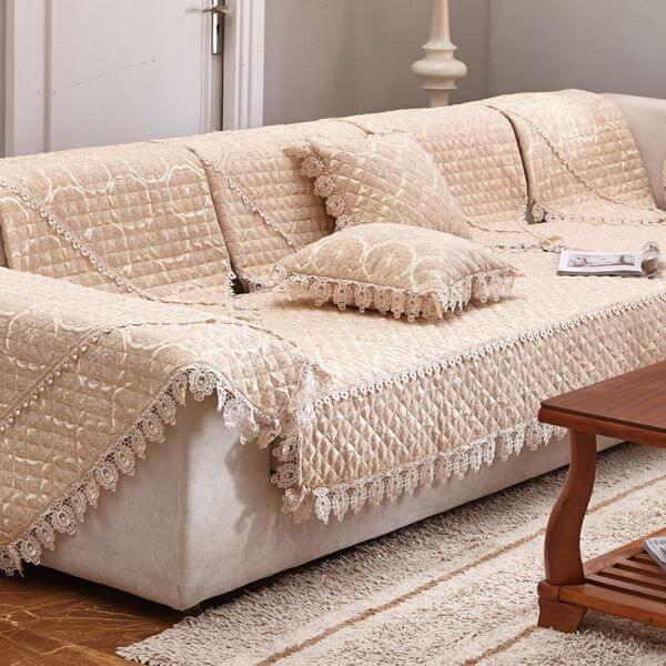 Capa de sofá de crochê