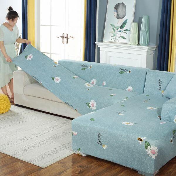 Capa de sofá estampada de flores para sofá de canto