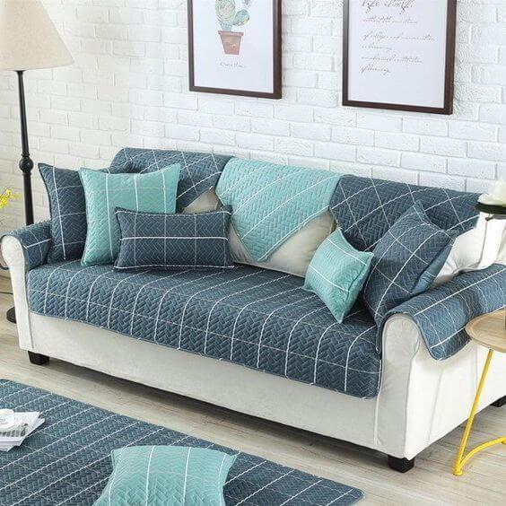 Capa de sofá protetora azul