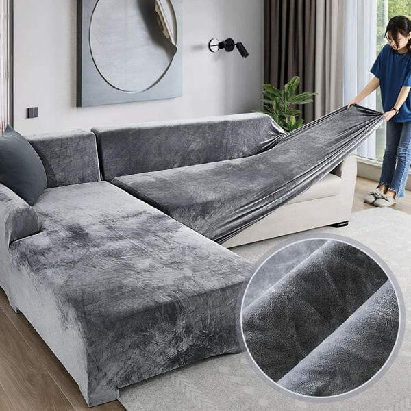 Capa para sofá cinza de suede