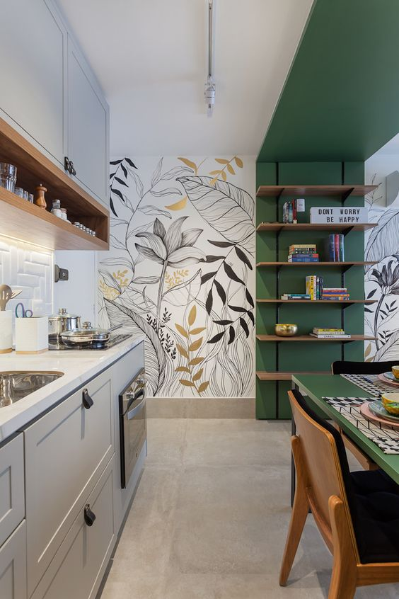 Cerâmica para cozinha moderna com papel de parede floral