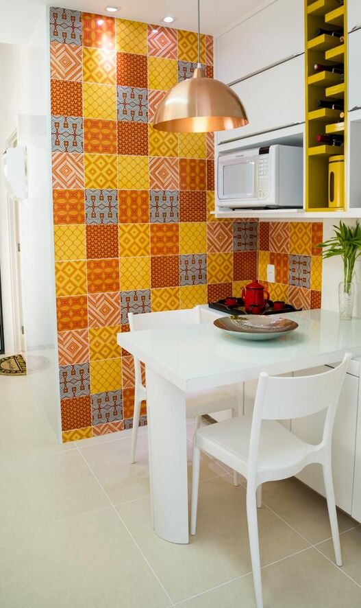 Cerâmica para parede de cozinha colorida