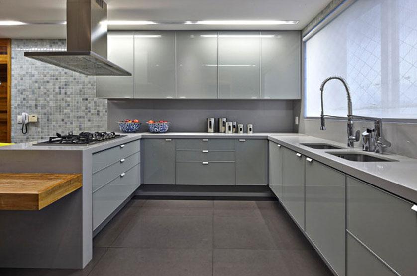 Cerâmica para cozinha cinza