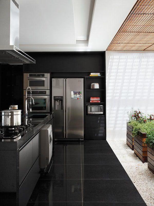 Ceramica para cozinha preta que imita granito