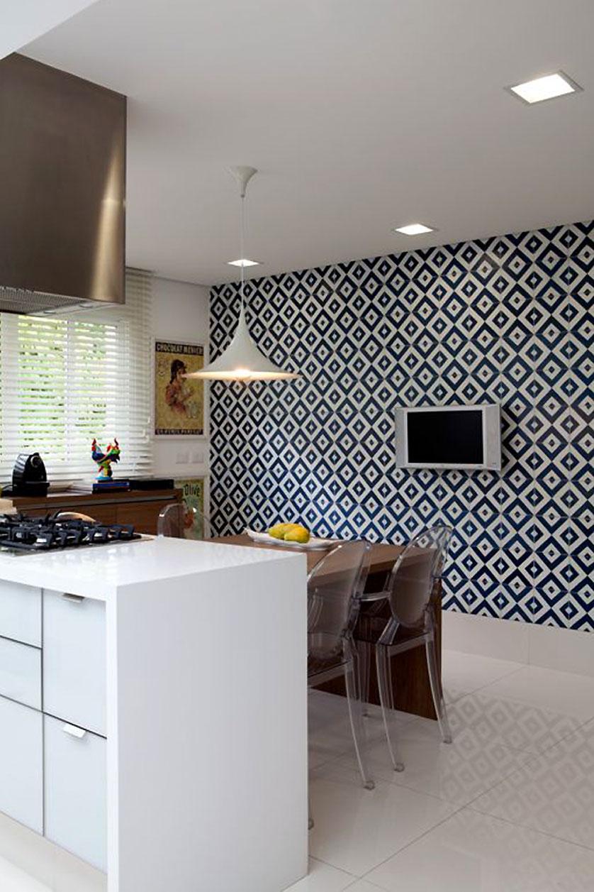 Cerâmica para cozinha preto e branco com piso branco