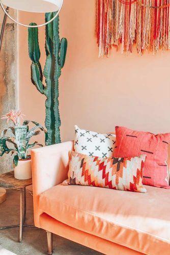 Cor coral para sala de estar