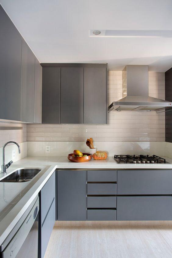 Cores de móveis planejados cinza para cozinha moderna de canto