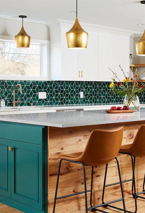 Cozinha verde com azulejo retro