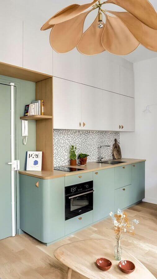 Decoração com cores de móveis para cozinha verde e branco