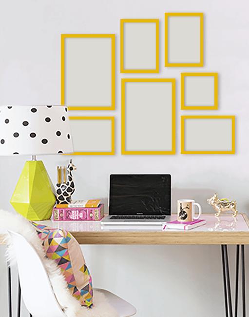 Escritório com moldura colorida amarela