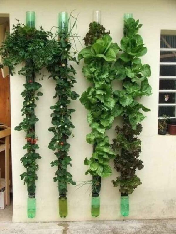 Fachada de casa decorada com horta vertical com garrafa pet