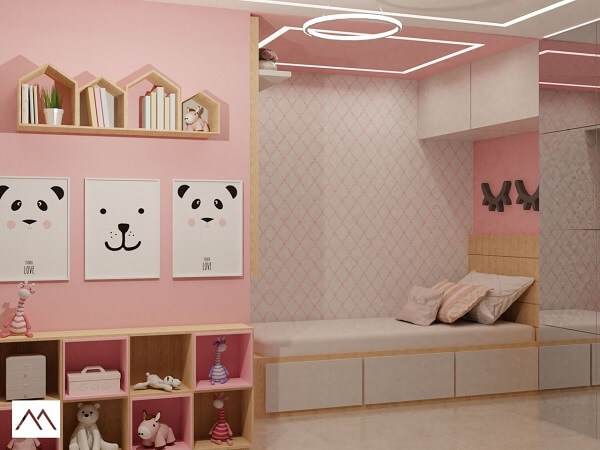 Guarda-roupa infantil com cama embutida com portas espelhadas
